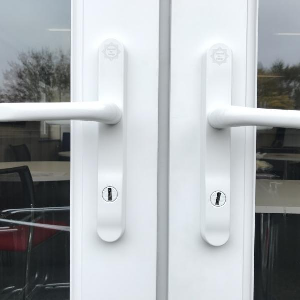 This picture shows a pair of Pas 24 High security upvc handles that we have just fitted to Robert Wilkinson School Strensall York. These were fitted due to a recent burglary attempt at the school.