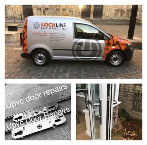 The the main picture shows the lockline Locksmiths work van parked outside the west door of York Minster. The second picture is of Two internal gearboxes used in upvc doors. The third picture is of a upvc and glass door that we have just finished repairing in Haxby York.