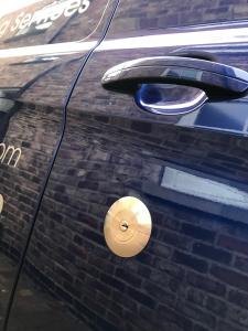 This picture shows a close up of a rep lock on a ford Transit custom. This van came to us for the fitting of various van security locks to all the doors.
